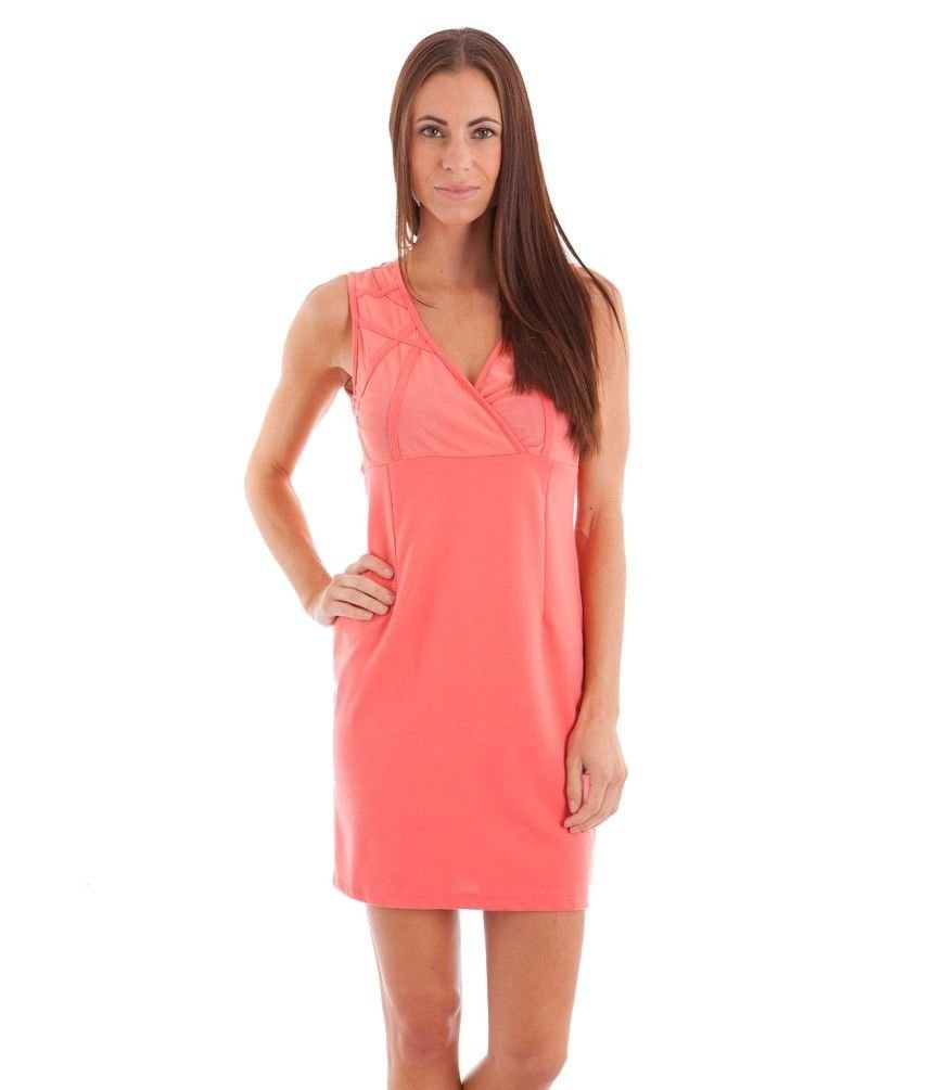 Sylc Camisa Juniors L Coral Surplice Dress with Sheer Mesh Back Sleeveless New