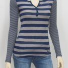 Roxy Juniors S Free Spirit Blue and Gray Stripe Knit V-neck Henley Shirt Long Sleeve New