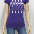 Roxy Juniors M Do It All Tee Shirt Purple Aztec Geometric Print Short Sleeve T-shirt New