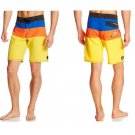 Quiksilver Mens size 28 Cypher No Frills Boardshorts Blue Orange Yellow Stripe Board Short