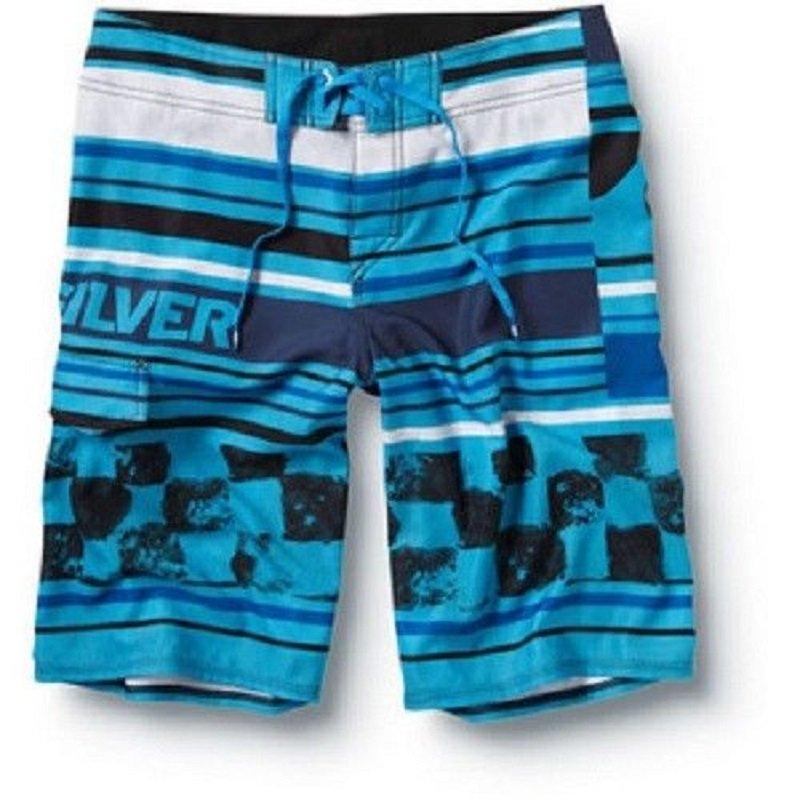 "Quiksilver Mens Size 34 Racer Boardshorts Blue Stripe Checker 22"" Board Short"