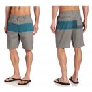 "Quiksilver Mens size 36 Gray and Blue Stripe Shorts Creature 21"" Short New"