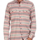 Quiksilver Mens M Red Stripe Switchblade Tounge Long Sleeve Button-Down Shirt