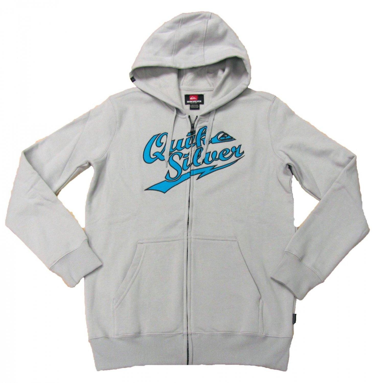 Quiksilver Mens XL Madcap Hoodie Gray Zip Sweatshirt with Blue Logo Long Sleeve New
