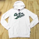 Quiksilver Mens L Madcap Hoodie White Zip Sweatshirt with Green Logo Long Sleeve New