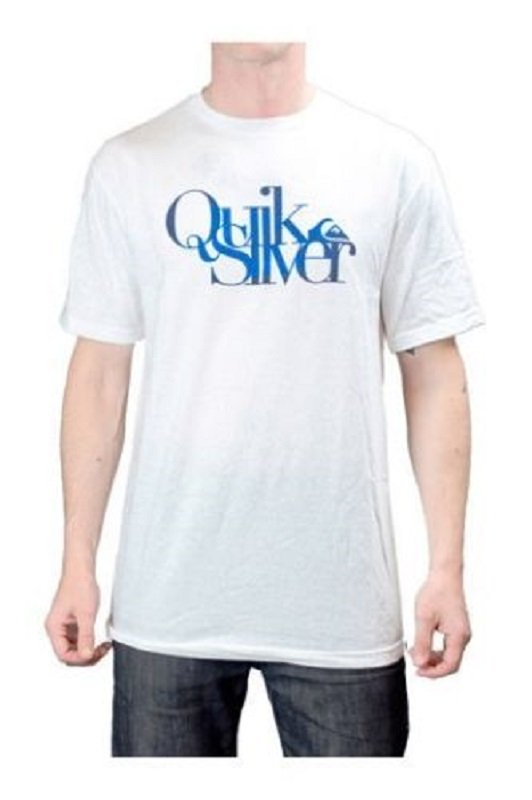 Quiksilver Mens S Quiksticks Tee Shirt White T-shirt with Blue Logo Men's Small