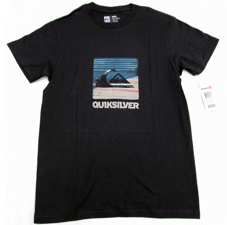 Quiksilver Mens S Wonderkid Tee Shirt Black Short Sleeve Crew T-shirt Small New
