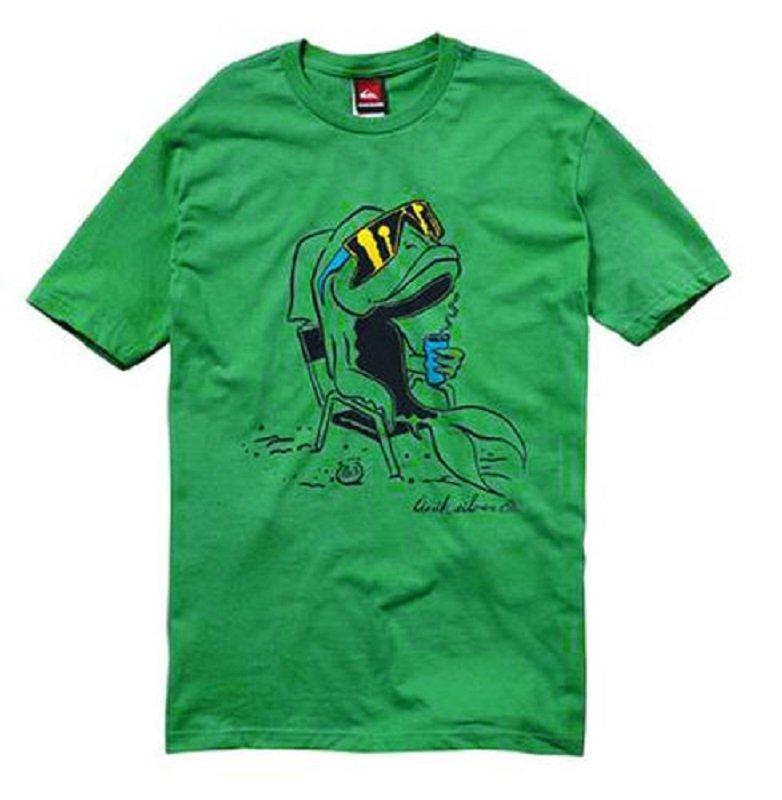 Quiksilver Mens M Sea Life T-Shirt Green Short Sleeve Cool Fish Tee Shirt