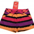 North Face Girls M Stripe Shortboard Water Shorts Pink Purple Orange Youth 10-12