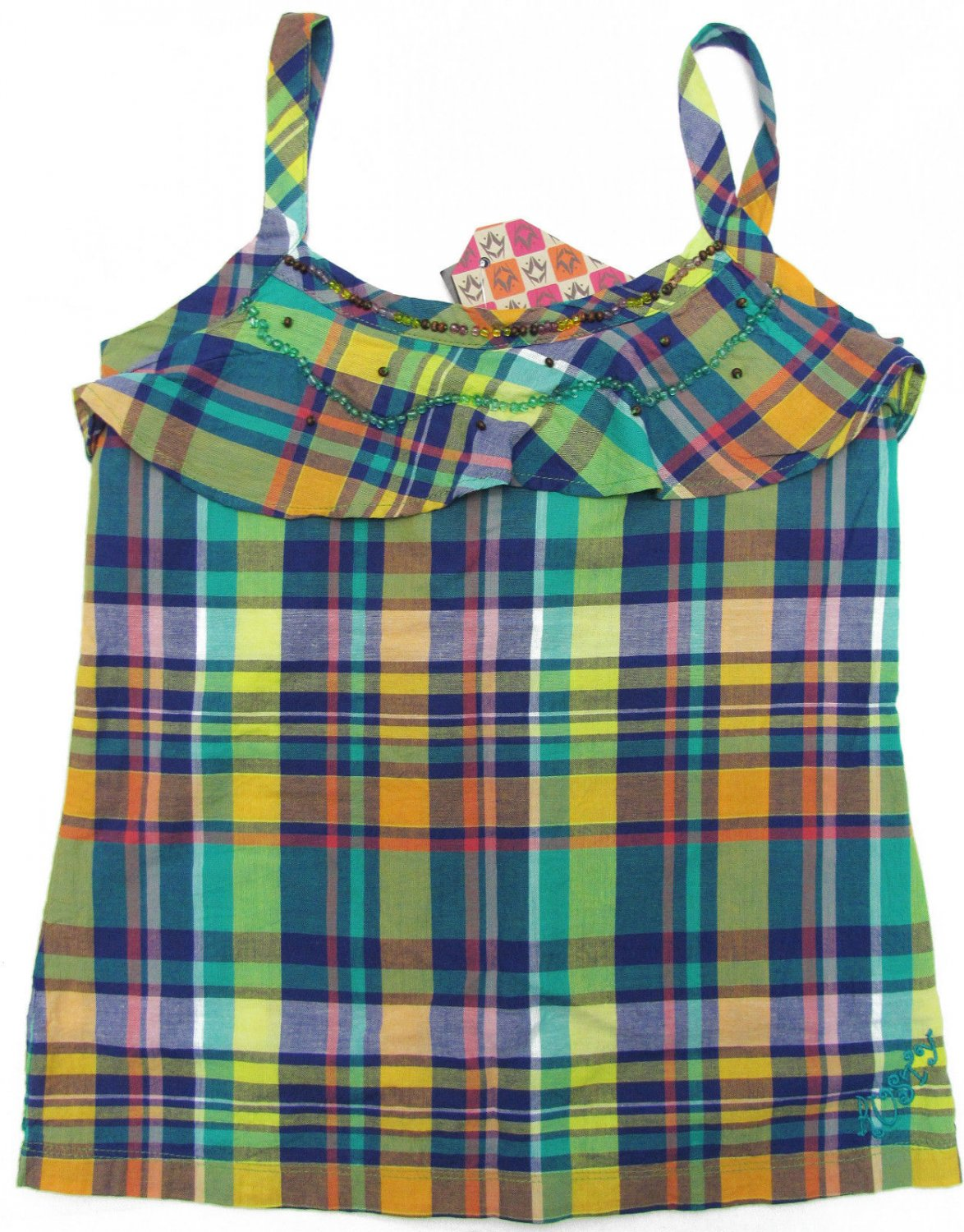 Rusty Girls M Day Tripper Green and Blue Plaid Tank Top Shirt New