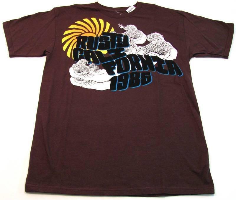 Rusty Mens M Rising Sun Tee Shirt Brown California 1985 T-shirt New