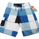 Rusty Mens size 30 Rico Swavy Boardshorts Board Shorts Blue Check Plaid Swim New