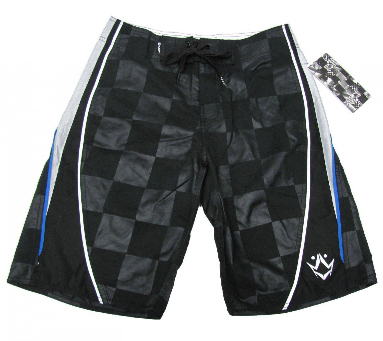 Rusty Mens size 28 Black Back In the Day Boardshorts Checker Board Shorts Swim New