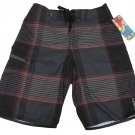 Rusty Mens size 30 Inner City Boardshorts Gray Black Red Plaid Board Shorts
