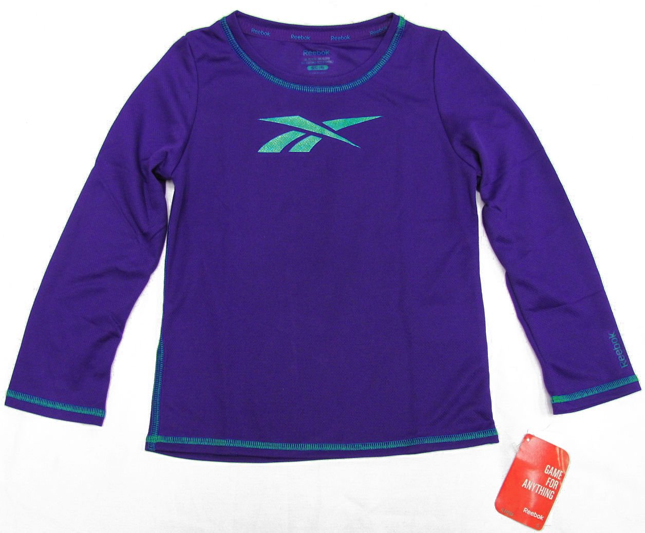Reebok Girls size 4 Playdry Long Sleeve Purple Shirt with Green Glitter Logo