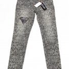Rewash Juniors size 9 Gray Damask Print Skinny Jeans Jeggings New