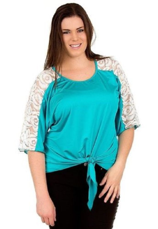 Rose Fashion Womens Plus Size 2X Teal Green Blouse Shirt with White Lace Shoulders
