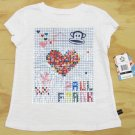 Paul Frank Girls size 5 Grid Tee Shirt White with Sequins Short Sleeve Kids New