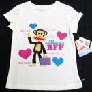Paul Frank Girls size 4 Best Friend Tee Shirt Anatomy of a BFF T-shirt White
