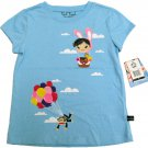 Paul Frank Girls size 5 Balloon Tee Hot Air Balloon Blue T-shirt New