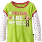 Paul Frank Girls Size L Hugs Are Free Tee Shirt Lime Green Long Sleeve T-shirt