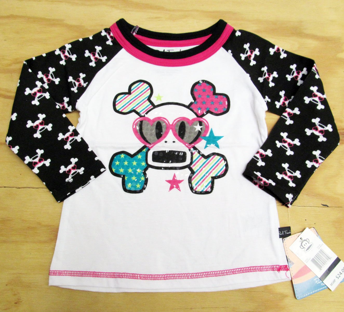 Paul Frank Girls 24 Months Skurvy Printed Raglan Tee Shirt White and Black Skull T-shirt