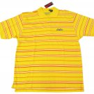 Paco Jeans Mens S Bright Yellow Stripe Polo Shirt RUNS LARGE