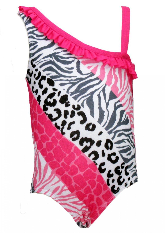 Penny M Baby Girls 24 Months Animal Print Swim Suit Swimsuit UPF 50+ Pink Gray Black