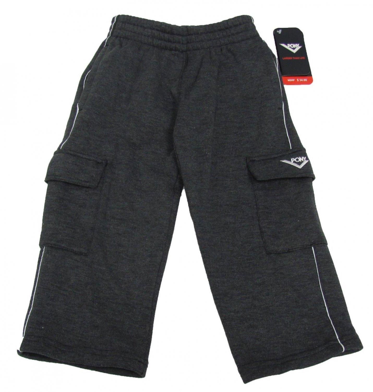 Pony Boys Size 4 Gray Cargo Sweatpants Lounge Pants New