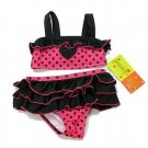 Penelope Mack Baby Girls 12 Months Pink and Black Polka Dot 2-Piece Swimsuit
