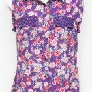 Candie's Juniors XS Purple Floral Button-down Sleeveless Shirt Jewel Box Top New
