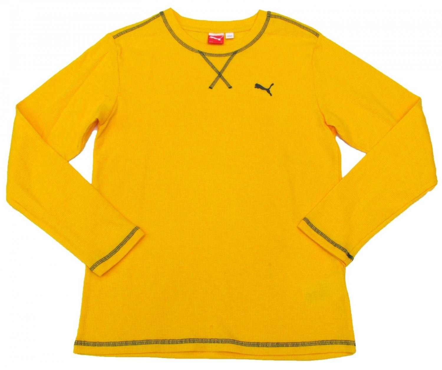 Puma Boys size 4 Yellow Thermal Shirt with Contrasting Stitching Long Sleeve Kids New