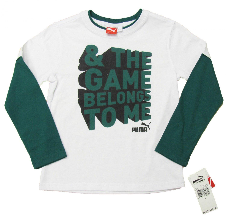 Puma Boys size 6 Long Sleeve Tee Shirt The Game Belongs to Me White Green T-shirt Youth