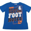 Puma Boys Size 4 Blue T-shirt Relax and Take Some Foot Notes Tee Shirt Kids New