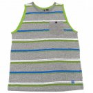Ocean Current Boys M Gray Stripe Tank Top Shirt with Chest Pocket