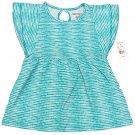 One Step Up Girls size 6X Teal Blue Polka Dot Stripe Babydoll Shirt Keyhole Back Kids