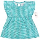 One Step Up Girls size 4 Teal Blue Polka Dot Stripe Babydoll Shirt Keyhole Back Kids Small New