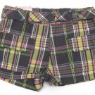 One Step Up Girls Size 5 Gray and Yellow Plaid Cotton Shorts with Belt New