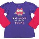 Okie Dokie Baby Girls 24 Mos Owl Always Be Your Friend T-shirt Purple Tee