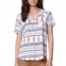 Nollie size M White Aztec Print Slit Neck Pocket Tee Shirt Short Sleeve Loose Fit T-shirt New