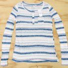 Nollie Juniors XS Ribbed Henley Shirt Long Sleeve Ivory and Blue Stripe Small New