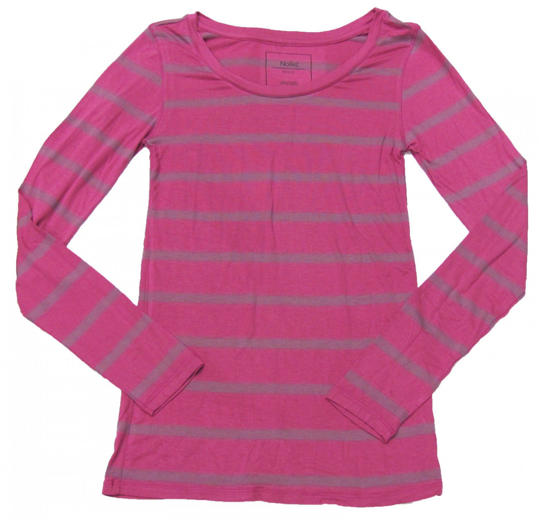 Nollie Juniors M Fuschia Pink Stripe Long Sleeve Tee Shirt Super Soft Knit Medium New