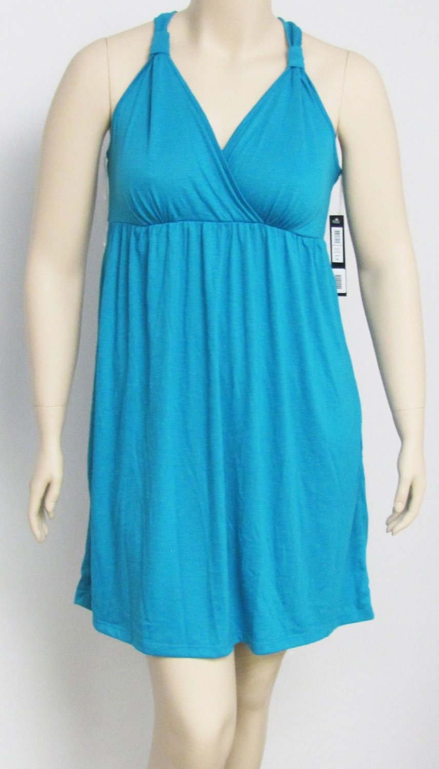 Nicole Miller New York Womens XL solid Turquoise Blue Sun Dress or Swim Cover-Up