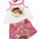 Dora the Explorer Baby Girls 12 Mos Pink Tank Top Shirt and Shorts 2-Piece Set Nickelodeon