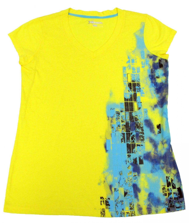 Xersion Womens S V-neck T-shirt Bright Yellow Short Sleeve Tee Shirt