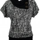 Annabelle Womens L Black and Ivory Funnel Neck Knit Top with Buttons Sweater Shirt New