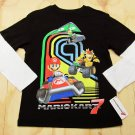 Nintendo Mario Kart Boys L Tee Shirt Black T-shirt with Long White Sleeves New