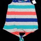 Color Thread Girls M Stripe Braided Racerback Tank Top Shirt Gray New