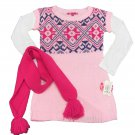 Energie Girls M Naomi Jacquard Sweater Mini Dress and Matching Scarf Pink