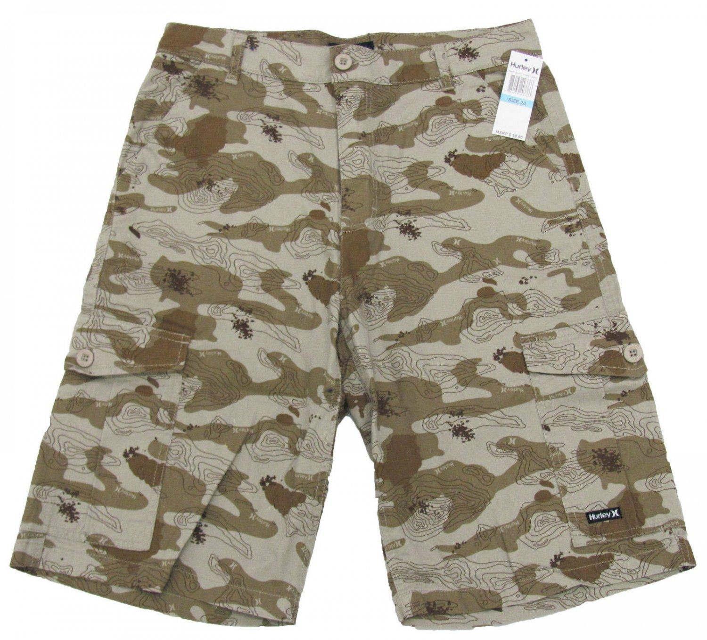 Hurley Boys size 18 Khaki Brown Street Camo Cargo Shorts Youth New